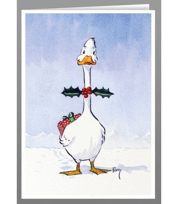 'Holly bowtie' duck greeting card