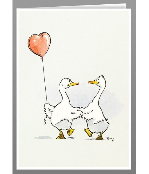 Ducks with heart balloon greeting cards