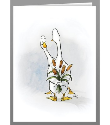Ducks with a bullrush bouquet greeting cards